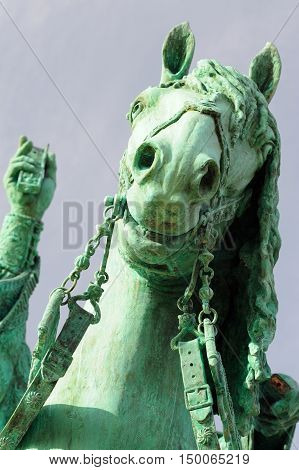 Orel Russia - October 03 2016: Horse of Ivan the Terrible monument on clear blue sky closeup