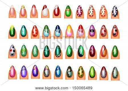 illustration of colorful nail designs. nail Polish