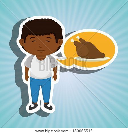 boy cartoon chicken food vector illustration eps 10