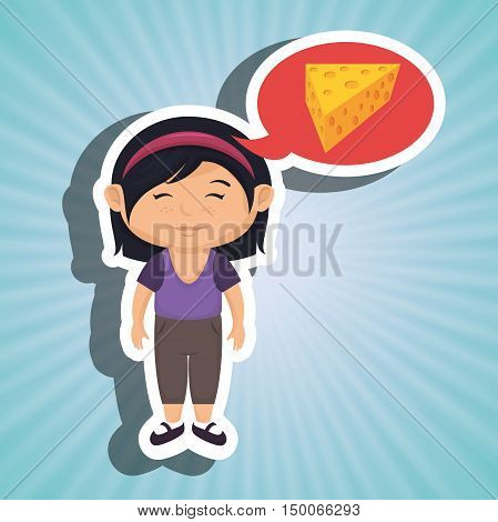 girl cartoon cheese sliced food vector illustration eps 10