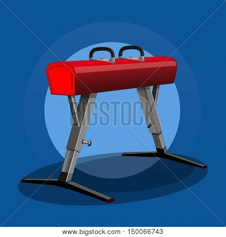 Pommel horse (side horse), vaulting horse. Artistic gymnastics apparatus. Sport equipment. Gym equipment. Vector realistic illustration
