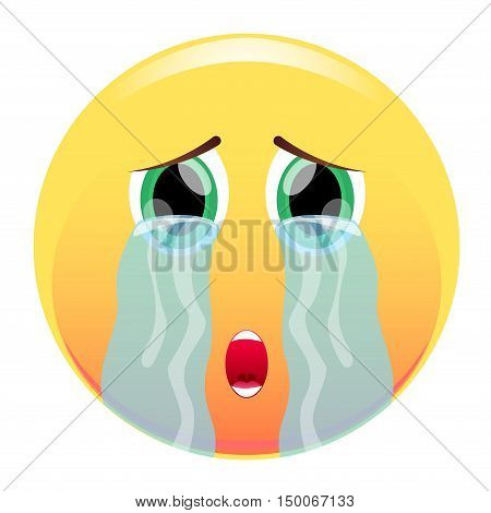 Smiley. Tear-streaked. With streams of tears. Sad emoticon. Vector illustration. Isolated on white background.