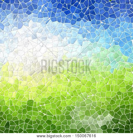 landscape colored abstract marble irregular plastic stony mosaic pattern texture background with white grout - blue sky over green grass