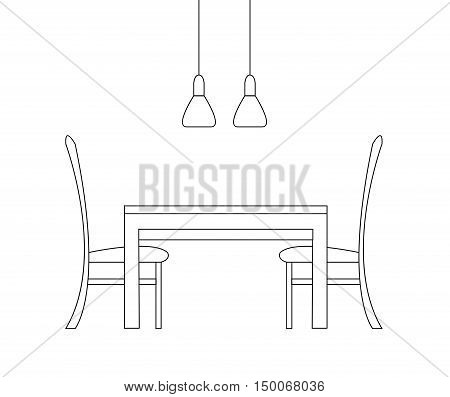 Sketch of the dining room. Two chairs a table and two lamps isolated on white background. Vector illustration in a linear style.