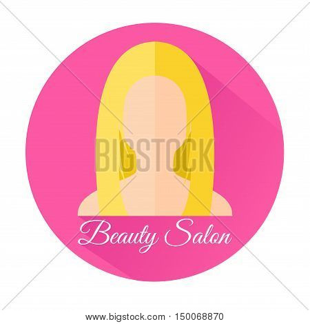 Icon Girl's head in flat style. Blonde girl on a pink background. With an inscription Beauty Salon . Vector illustration.