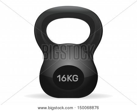 Athletic kettlebell weight of 16 kg. Kettlebell Exercise. Sport kettlebell isolated on white background. Vector illustration