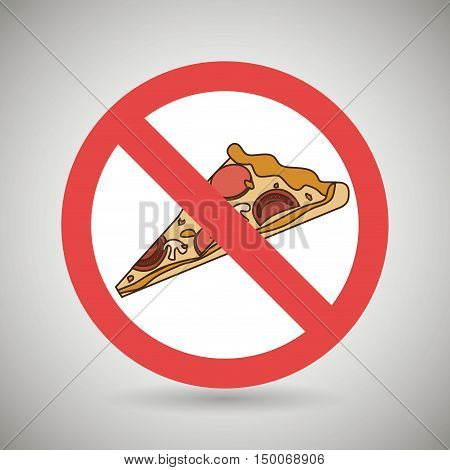 pizza fast food unhealth prohibited vector illustration eps 10