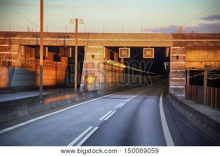 entrance to the tunnel Oresund bridge between Sweden and Denmark