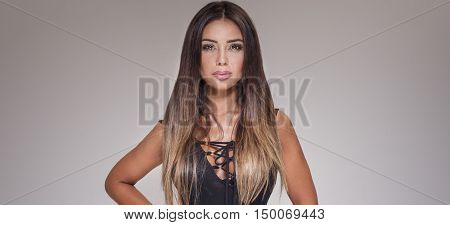 Sensual Brunette Woman Posing.