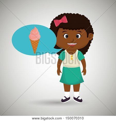 girl cartoon ice cream vector illustration eps 10