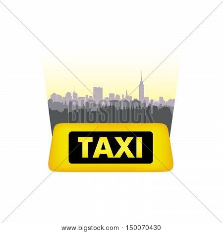 Taxi service header. Taxi sign city background. Call taxi cityscape concept