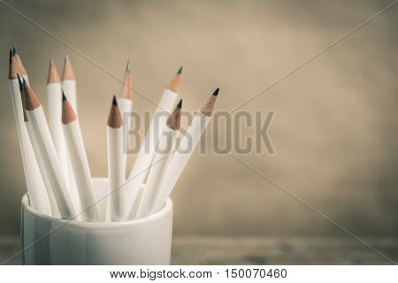 Group of sharp white pencil in case. Vintage style photo