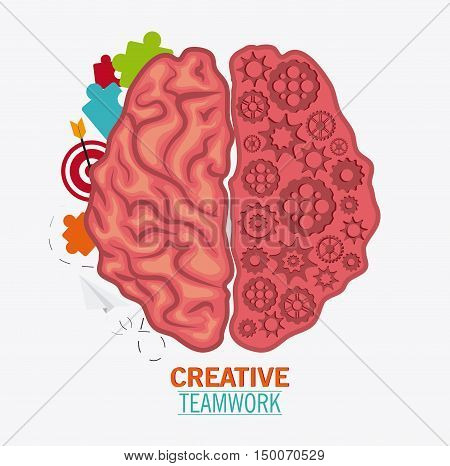 Brain puzzle paperplane target and gears icon. Creative teamwork and big idea theme. Colorful and isolated design. Vector illustration