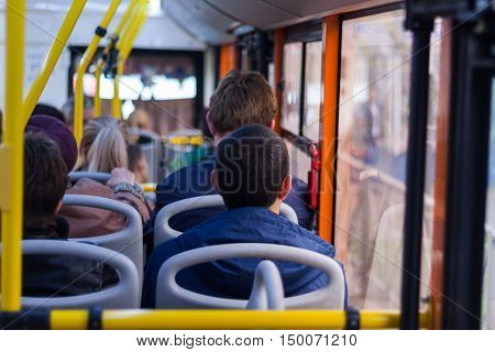 people sitting in public transport background  abstract