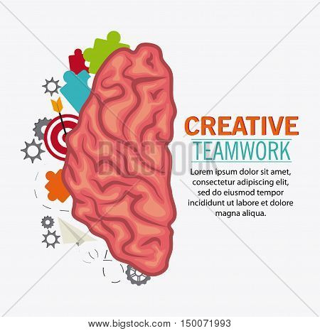 Brain puzzle paperplane and target icon. Creative teamwork and big idea theme. Colorful and isolated design. Vector illustration