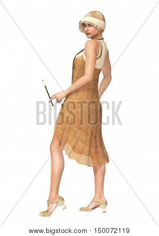 3D illustration of a woman wearing a vintage 1920's flapper dancer dress and a hat with a cigarette holder.