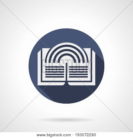 White silhouette of abstract rainbow on pages of open book. Fairy tale, magic and fantasy stories. Literary genres. Symbol for web library, ebook store. Blue round flat design vector icon.