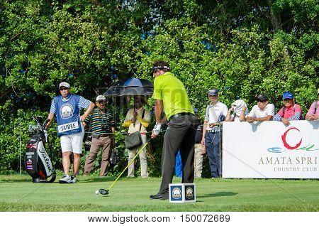 CHONBURI - DECEMBER 13 : Thongchai Jaidee of Thailand player in Thailand Golf Championship 2015 at Amata Spring Country Club on December 13 2015 in Chonburi Thailand.