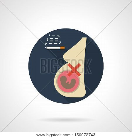 Abstract sign of pregnant woman and cigarette. Harmful effects of smoking on pregnancy. Danger for fetus and mother health. Round flat color design vector icon.