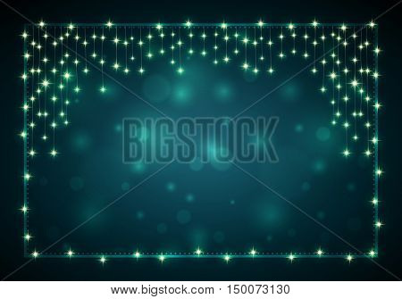 Christmas frame with lights and blank dark bokeh background. With copy space. Elements are layered separately in vector file.