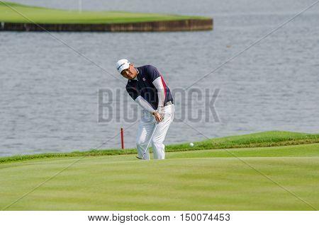 CHONBURI - DECEMBER 13 : Lu Wei-chih of Taiwan player in Thailand Golf Championship 2015 at Amata Spring Country Club on December 13 2015 in Chonburi Thailand.