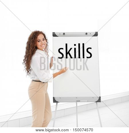 Skills. Business trainer giving presentation on whiteboard