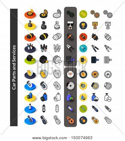 Set of icons in different style - isometric flat and otline, colored and black versions, vector symbols - Car parts and services collection