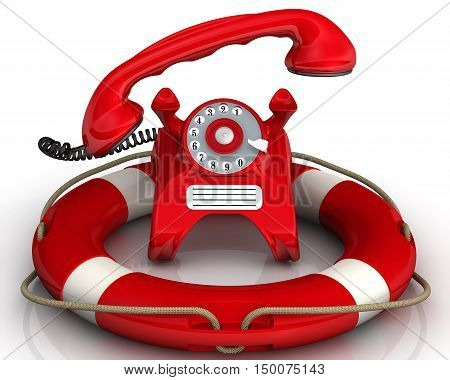 Assistance by phone. Vintage telephone in red standing on the lifebuoy with lifted handset. Isolated. 3D Illustration