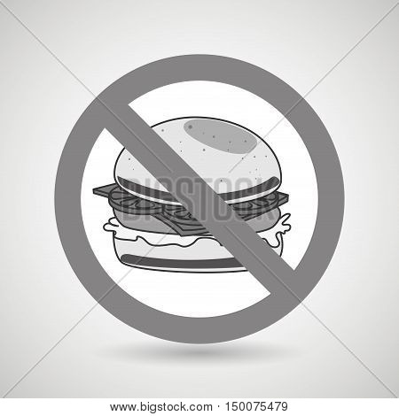 burger fast food unhealth prohibited vector illustration eps 10