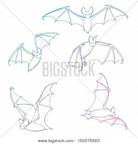Set Bats. Collection Of . Flying . Halloween. Cartoon . Line Art. Drawing By Hand. Doodle. Tattoo.