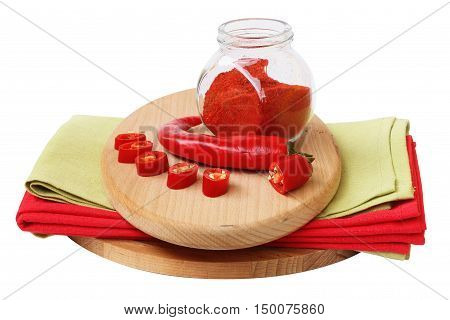 red chilli pepper on white background for the recipe