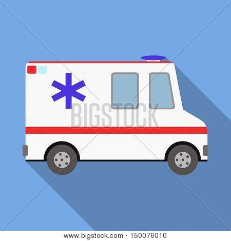 Vector illustration ambulance car on blue background. Ambulance auto paramedic emergency. Medical evacuation. Cartoon silhouette on blue long shadow