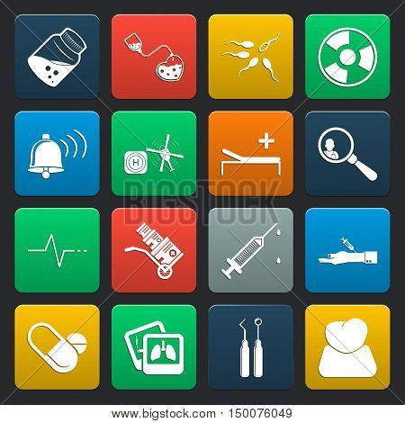 medicine 16 icons universal set for web and mobile flat