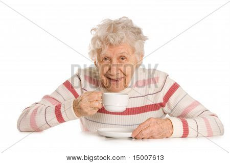 Grandmother From Coffee  Isolated On White Background