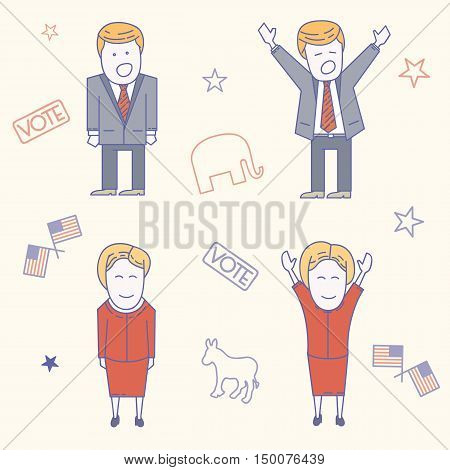 USA election candidates characters line art vector illustration