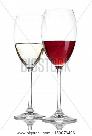 Glass of red and white wine with reflection on white background