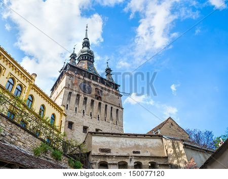 Beautiful and artistic tower-bell of the famous Citadel in Sighisoara, medieval town of Transylvania,  Romania