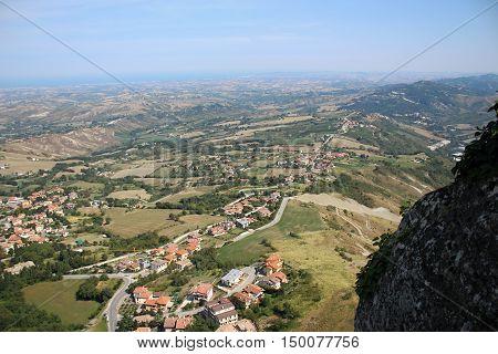 Horison in San Marino. Panorama wiew in San Marino.