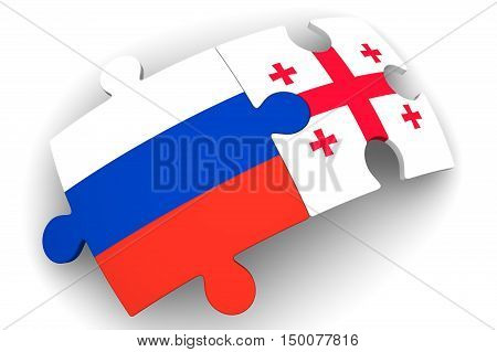 Cooperation between the Russian Federation and Georgia. Puzzles with flags of the Russian Federation and Georgia on a white surface. The concept of coincidence of interests in geopolitics. Isolated. 3D Illustration