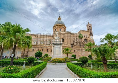 Palermo Cathedral or Metropolitan Cathedral of the Assumption of Virgin Mary in Palermo, Sicily, Italy. Architectural complex built in Norman, Moorish, Gothic, Baroque and Neoclassical style.