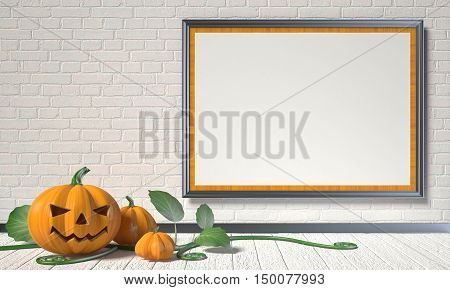 Jack O Lantern pumpkin green leafs and mock up blank poster on white wall. 3D render illustration background