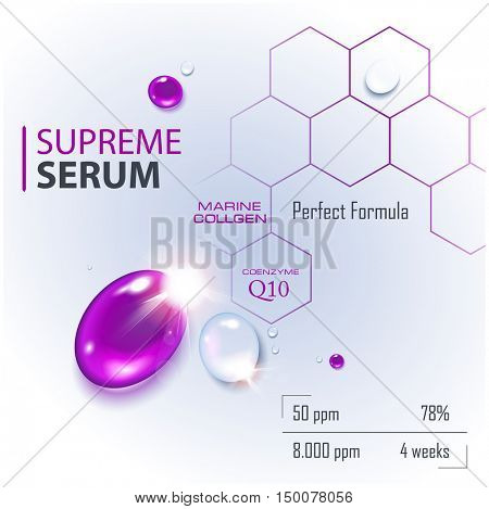 Coenzyme Q10. Supreme collagen oil drop essence with DNA helix. Premium shining serum droplet. Hyaluronic acid energy boost moisturizing collagen design.  poster