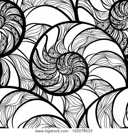 Abstract ornamental spiral seamless black and white outline pattern. Stylish seashell nautilus textured wave geometric background
