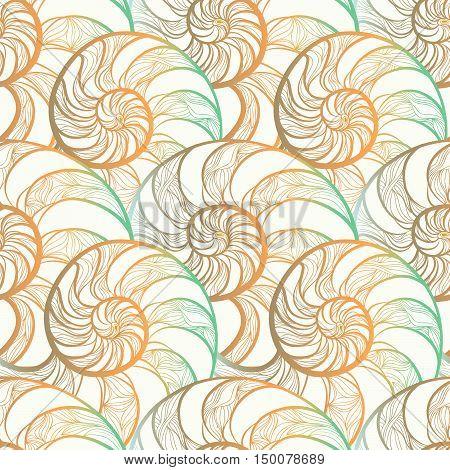 Abstract ornamental spiral seamless pattern. Stylish seashell nautilus textured ocean wave geometric background