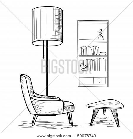 Interior design of living room with armchair table book-shelf and floor lamp. Lounge concept interior.. Flat classic modern furniture design in 1960s minimalist style.