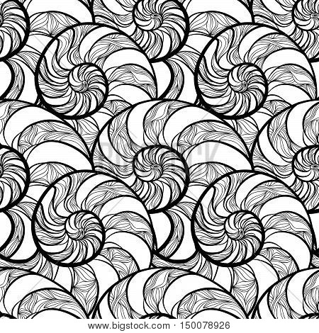 Abstract ornamental spiral seamless black and white outline pattern. Stylish seashell nautilus textured ocean wave geometric background