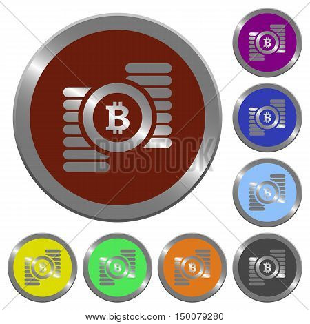 Set of color glossy coin-like Bitcoins buttons