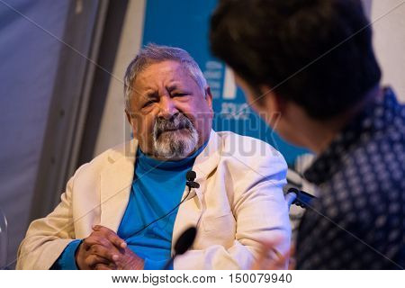 Obidos Portugal. 22 September 2016. writer Vidiadhar Naipaul attends a conference at the FOLIO International Literary Festival of Obidos. Obidos Portugal. photography by Ricardo Rocha.