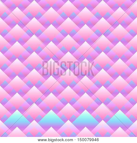 Vector seamless rhombus abstract pattern. Gradient pink filling. Three dimentional effect. Trendy neon colors