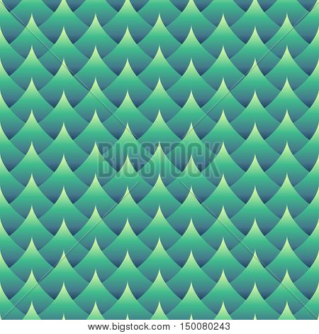 Geometric seamless wavy pattern. Gradient green coloring. Three dimentional effect